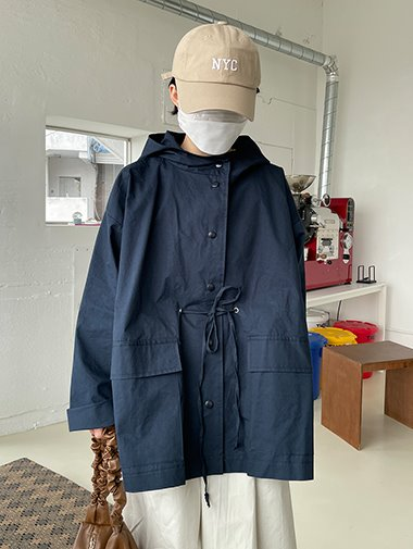 Cozy hood safari jacket / 2color