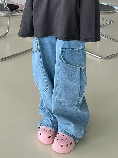 Cargo denim wide pants / 2color